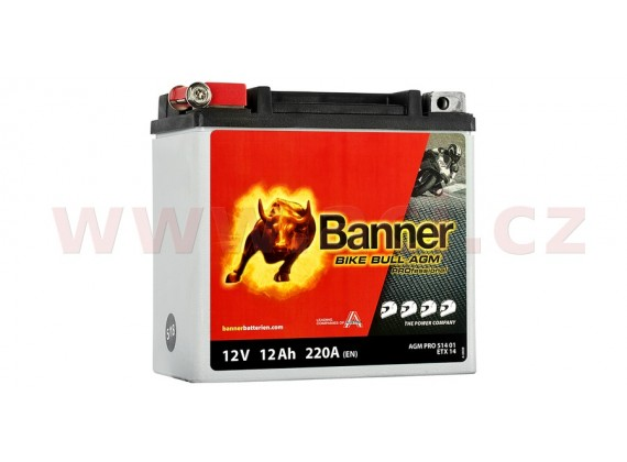 baterie 12V, ETX 14, 12Ah, 220A, BANNER Bike Bull AGM PRO 150x88x145