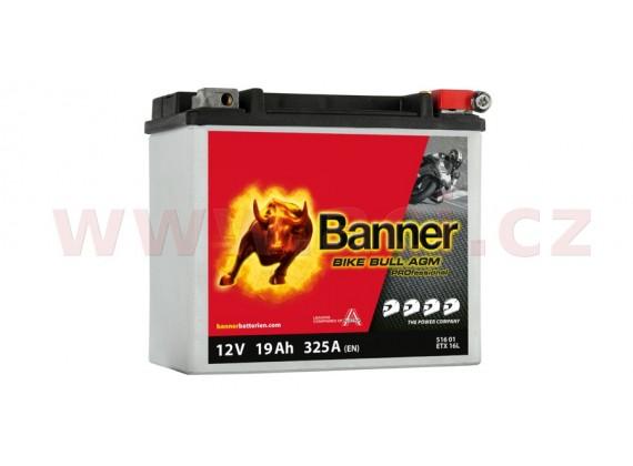 baterie 12V, ETX 16 l, 19Ah, 325A, BANNER Bike Bull AGM PRO 175x100x155