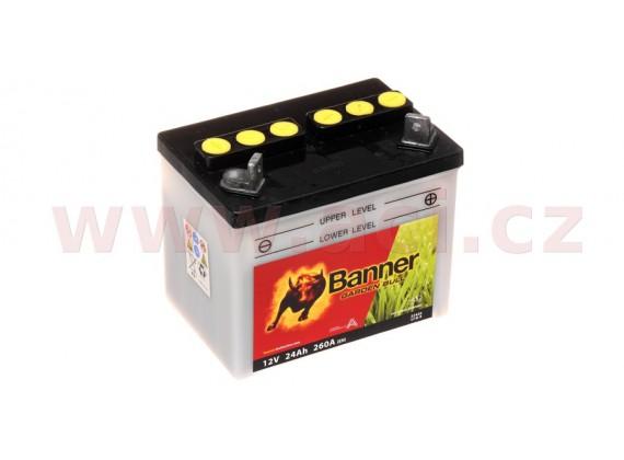 baterie 12V, U1R-9, 24Ah, 260A, pravá, BANNER Garden Bull 196x131x183