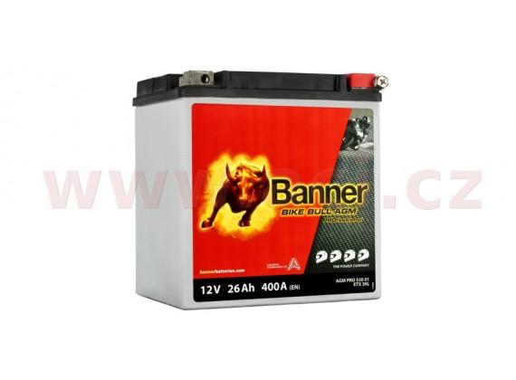 baterie 12V, ETX 30 l, 26Ah, 400A, BANNER Bike Bull AGM PRO 168x131x197