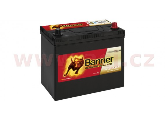 55Ah baterie, 460A, pravá BANNER Running Bull EFB 238x129x203(225) (pro vozidla Mazda, Mit