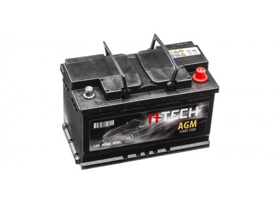 80Ah AGM baterie START-STOP, 800A, pravá A-TECH AGM 315x175x190