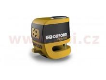 zámek kotoučové brzdy Micro XA5, OXFORD (integrovaný alarm, žlutý/černý, průměr čepu 5,5 m