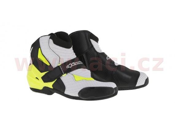 boty SMX-1 R Vented, ALPINESTARS (černé/bílé/žluté fluo, perforovaná kůže)