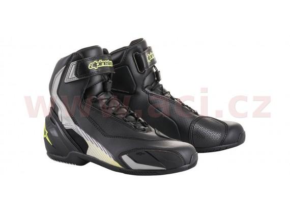 boty SP-1, ALPINESTARS (černé/stříbrné/žluté fluo)