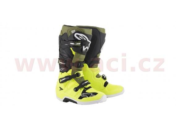 boty TECH 7 2021, ALPINESTARS (žlutá fluo/vojenská zelená/černá)