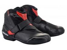boty SMX-1 R VENTED 2021, ALPINESTARS (černá/červená, perforovaná obšívka)