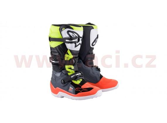 boty TECH 7 S 2021, ALPINESTARS, dětské (šedá/červená fluo/žlutá fluo)