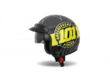 přilba Oxygen 101 Riders, CASSIDA (žlutá fluo/černá/stříbrná metalická)