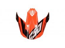 kšilt pro přilby Cross Cup Two Junior, CASSIDA, dětská (oranžový fluo/bílý/černý/šedý)