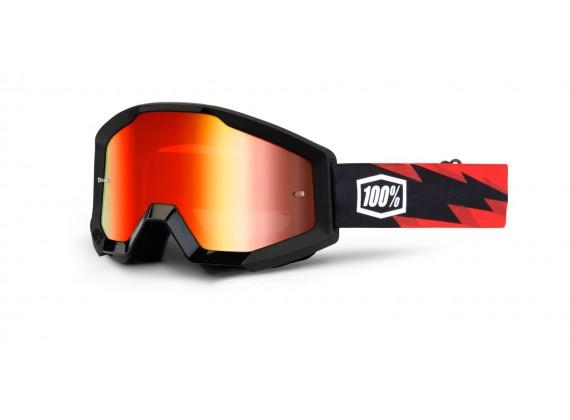 brýle Strata Slash, 100% (černá, červené chrom plexi s čepy pro slídy)