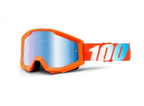 brýle Strata Orange, 100% (oranžová, modré chrom plexi s čepy pro slídy)