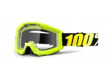 brýle Strata Neon Yellow, 100% (žlutá, čiré plexi s čepy pro slídy)