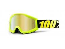 brýle Strata Neon Yellow, 100% (žluté, zlaté chrom plexi s čepy pro slídy)
