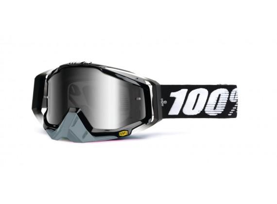 brýle Racecraft Abyss Black, 100% (střírbné chrom plexi + čiré plexi + chránič nosu +20 st