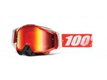 brýle Racecraft Fire Red, 100% (červené chrom plexi + čiré plexi + chránič nosu +20 strháv