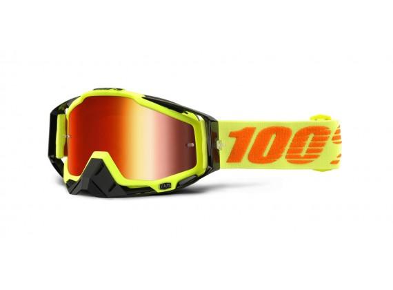 brýle Racecraft Attack Yellow, 100% (červené chrom plexi + čiré plexi + chránič nosu +20 s