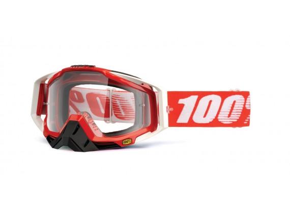 brýle Racecraft Fire Red, 100% (čiré plexi + chránič nosu +20 strhávaček)