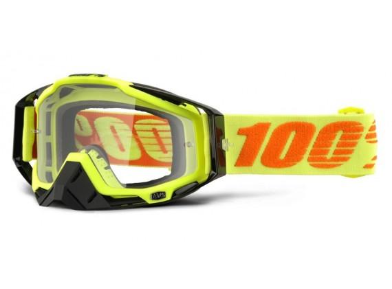 brýle Racecraft Attack Yellow, 100% (čiré plexi + chránič nosu +20 strhávaček)