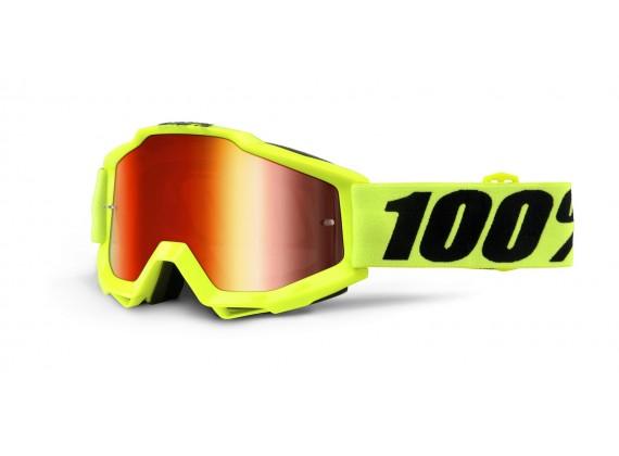 brýle Accuri Fluo Yellow, 100% (žlutá, červené chrom + čiré plexi s čepy pro slídy)