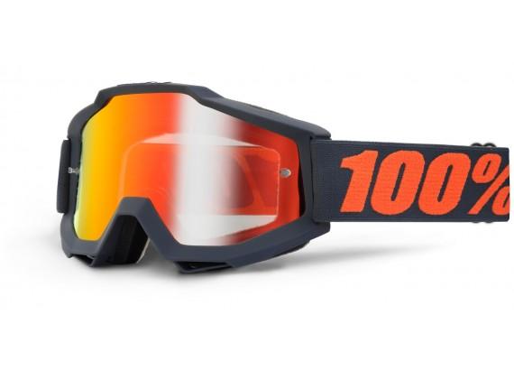 brýle Accuri Matte Gunmetal, 100% (černá, červené chrom + čiré plexi s čepy pro slídy)