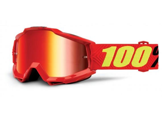 brýle Accuri Saarinen, 100% (červená, červené chrom + čiré plexi s čepy pro slídy)