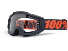 brýle Accuri ENDURO Gunmetal, 100% (černá, čiré dual plexi s čepy pro slídy)