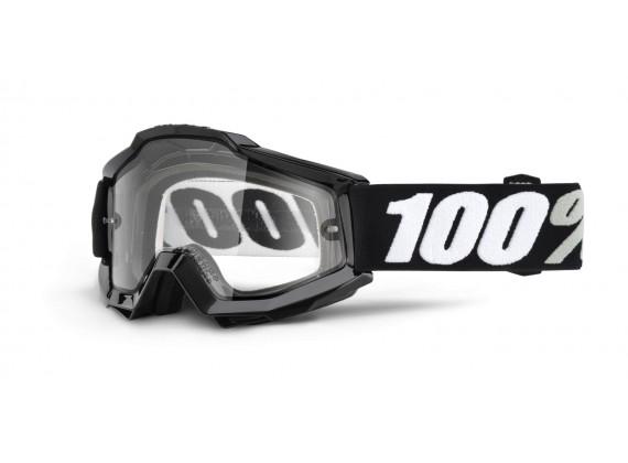 brýle Accuri ENDURO Tornado, 100% (černá, čiré dual plexi s čepy pro slídy)
