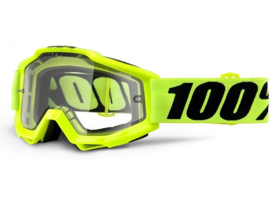 brýle Accuri Enduro Fluo Yellow, 100% (kouřové dual plexi s čepy pro slídy)