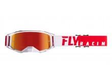 brýle ZONE PRO 2019, FLY RACING (červené/bílá, červené chrom plexi)