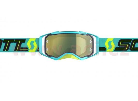 brýle PROSPECT, SCOTT (tyrkysové/žluté, žluté chrom plexi s čepy pro slídy)
