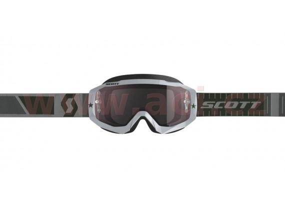 brýle HUSTLE MX, SCOTT (šedé, silver chrom plexi s čepy pro slídy)