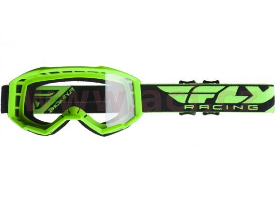 brýle FOCUS 2020, FLY RACING (zelené, čiré plexi bez pinů)