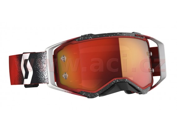 brýle PROSPECT, SCOTT (bílá/červená, oranžové chrom plexi s čepy pro slídy)