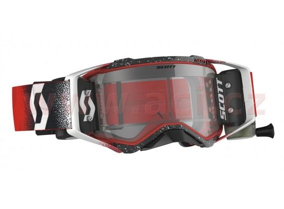 brýle PROSPECT WFS, SCOTT (bílá/červená, čiré plexi s Roll-Off)
