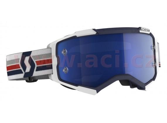 brýle FURY, SCOTT (modrá/bílá, modré chrom, plexi s čepy pro slidy)