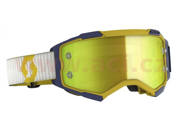 brýle FURY, SCOTT (žlutá/modrá, žluté chrom, plexi s čepy pro slidy)