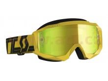 brýle HUSTLE X MX, SCOTT (žluté/černé, žluté chrom, plexi s čepy pro slidy)