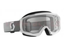 brýle HUSTLE X MX, SCOTT (bílá/šedá, čiré plexi s čepy pro slidy)