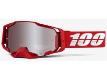 brýle ARMEGA RED, 100% (HIPER stříbrné plexi s čepy pro slídy)
