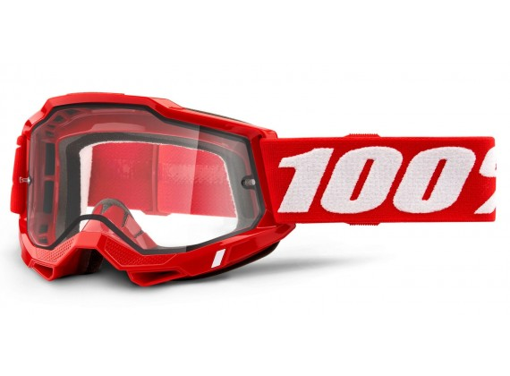 ACCURI 2 100% - USA , Enduro Moto brýle červené - čiré Dual plexi