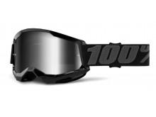 STRATA 2 100% - USA , brýle černé - zrcadlové stříbrné plexi