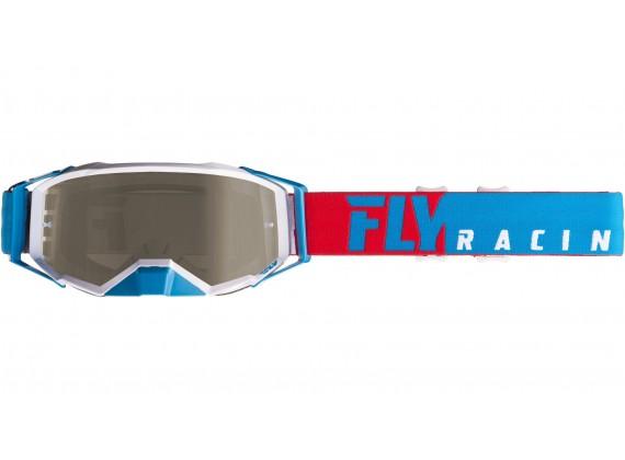 brýle ZONE PRO 2019, FLY RACING (červené/bílá/modrá, kouřové plexi)