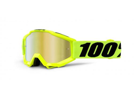 brýle Accuri JR Fluo Yellow, 100% dětské (žlutá, červené chrom plexi s čepy pro slídy)