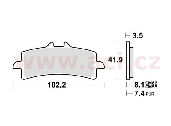 brzdové destičky, BRAKING (semi metalická směs CM66) 2 ks v balení
