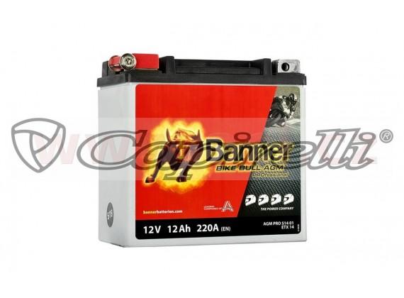 baterie 12V, ETX 14L, 12Ah, 220A, BANNER Bike Bull AGM PRO 150x88x145