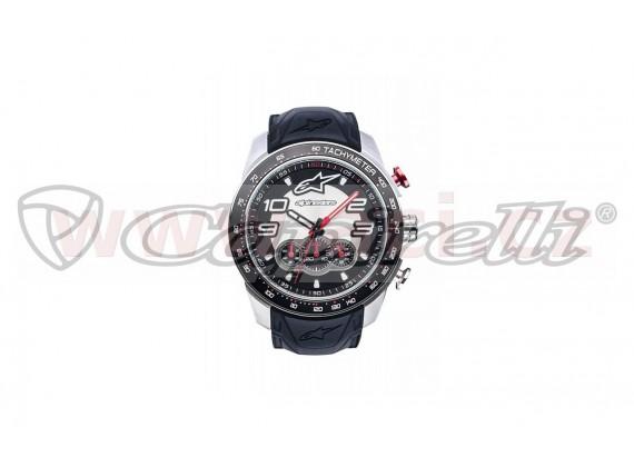 hodinky TECH CHRONO STEEL, ALPINESTARS (broušený nerez/černá/červená, pryžový pásek)