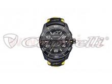 hodinky TECH RACE, ALPINESTARS (černá/žlutá, kožený pásek)