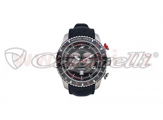 hodinky TECH RACING TIMER/CHRONO, ALPINESTARS (broušený nerez/černá/červená, pryžový pásek
