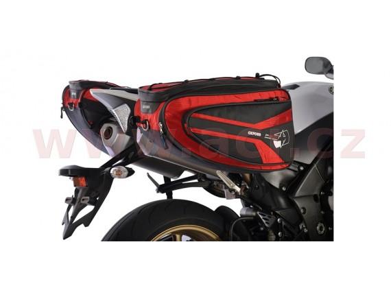 Boční brašny na motocykl P50R (černé/červené, objem 50l, pár)